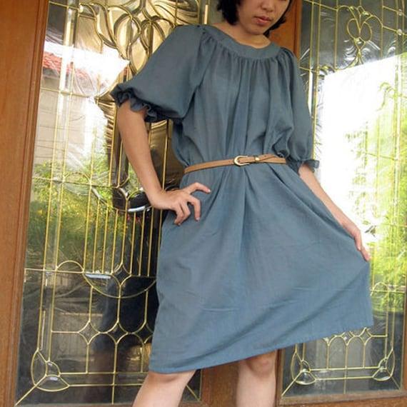 Custom Made Marble Blue Cotton Scoop Neck Short Boho Loose Tunic Women Summer   dress  S -L (H)
