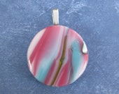 Pink Striped Pendant, Fused Glass Jewelry, Handmade Jewelry on Etsy, Pink Fused Glass Pendant, Ready to Ship  - Princeton - 4489-3