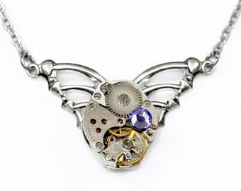 Steampunk Winged Clockwork Tribal Antiqued Silver Necklace with Vintage Watch and Purple Tanzanite Swarovski Crystal by Velvet Mechanism