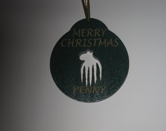 Personalized wooden christmas cut out octopus ornament or gift tag