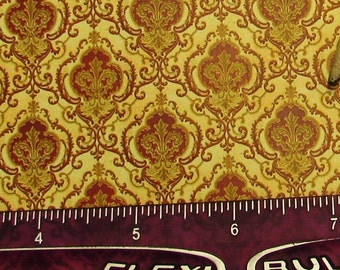 Dollhouse Miniature Victorian WALLPAPER Ogee Damask Red