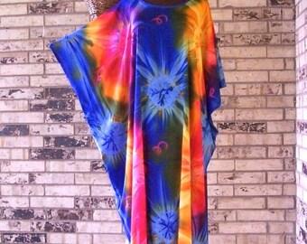 Plus Size Long Tie Dye Tunic/Caftan