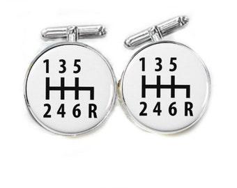 Car Gear Shift Cufflinks, gift for men, groom groomsmen cuff links, stick mechanics cufflinks, stick Shift cufflinks