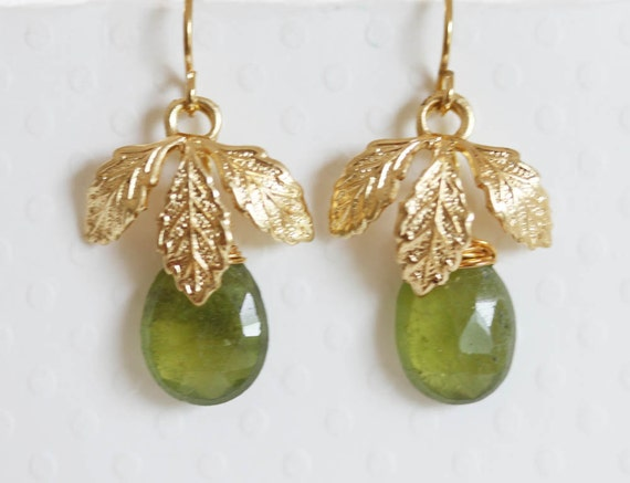 Leaf Green Gemstone Earrings Green Gemstone Earrings Green Garnet Gold Leaf Earrings