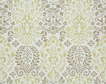 1950s Vintage Wallpaper -  Brown and Gold Floral Damask with Tiny Birds