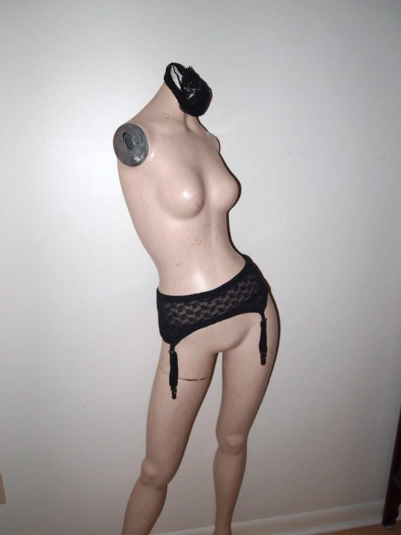 Vintage 60s Black Lace Pinup Girl Garter Belt for Stockings Large / XL NOS USA