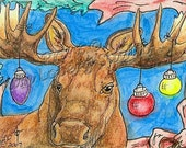 Christmas bull Moose Ornaments Holiday large Deer ACEO Wildlife mini Art Print Kim Loberg Nebraska Artist EBSQ