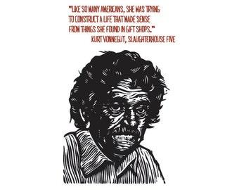 Postcard, Literary Postcard, Kurt Vonnegut Portrait Quote Postcard, Kurt Vonnegut