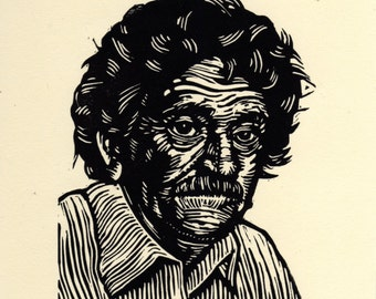Kurt Vonnegut Linocut Art Print, Kurt Vonnegut Linoleum Block Print, Author Art, literary wall decor
