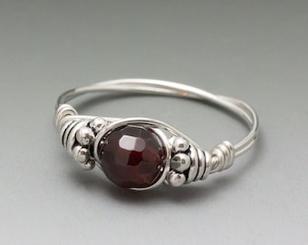 Pyrope Garnet Faceted Bali Sterling Silver Wire Wrapped Ring - Made to Order, Ships Fast!