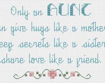 Cross stitch pattern - Only An Aunt - PDF - Instant Download