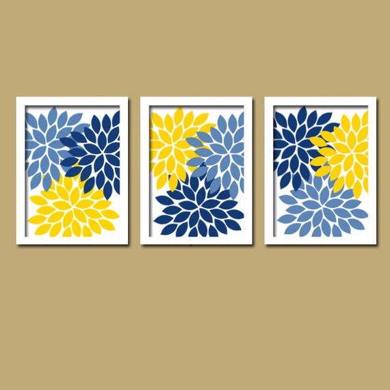 Blue Yellow Wall Art Bedroom Canvas Or Prints Bathroom Artwork Bedroom Pict