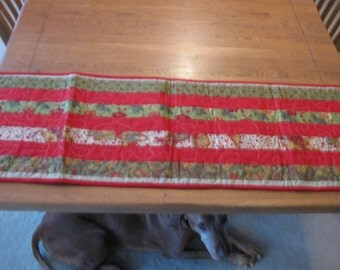 Red and Green Christmas Table Runner Handmade