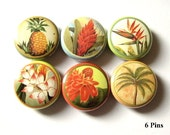"""Hawaiian Flowers 1"""" PINBACKS PINS BADGES floral tropical retro kitsch palm tree pineapple hawaii flower party favors shower gifts buttons"""