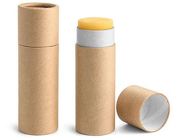 Paperboard Containers, 1 oz Brown Paperboard Push Up Lip Balm Tubes 1 Dozen