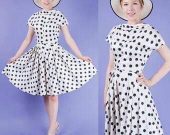 FRENCH CHIC Vintage 50s Bateau Neck Polka Dot White and Black Print Cotton Full Skirt Dress XS/S