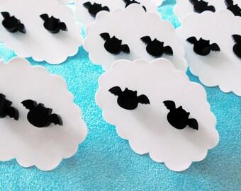 Bat Earrings - Black Acrylic Studs