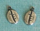 NEW 2 Silver Coffee Bean Charms 3249
