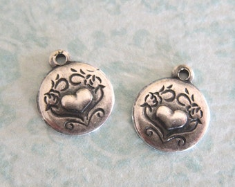 2 Silver Heart Charms 3307