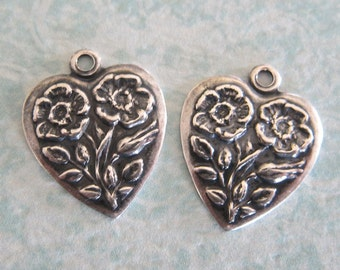 2 Silver Heart Charms 3308