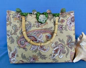 RESERVED for CONNIE Paisley Placemat Purse Handbag - OOAK