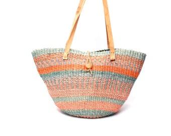 SISAL jute woven stripe 80s 90s leather bucket TOTE purse