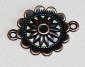 10 pcs of antique copper  flower connector 21x3mm, cabochon setting