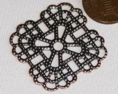 Bulk 100 pcs of Antiqued copper square filigree finding 36mm