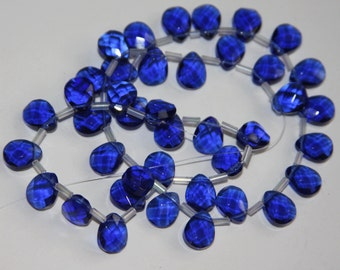 40 pcs of faceted flat briolette glass beads 8 x10mm  Dark Blue