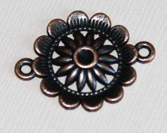 10 pcs of antique copper  flower connector 21x3mm, cabochon setting