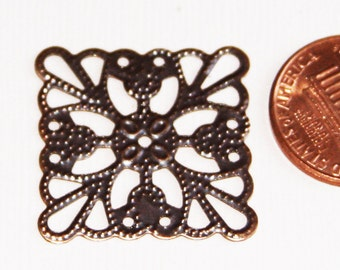 24 pcs of Antiqued copper square filigree finding 24mm