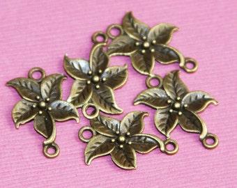 16 pcs of antique Brass flower connector 17x14mm