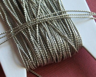 Antique Silver color beading chain 1mm 32ft spool
