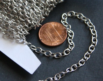 3ft SAMPLE chain of Antiqued Silver Plated chain round cable chain 4x5mm soldered links