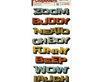 Boy Sticker Geo-Hectic Layered Chipboard Foil stickers - kitsnbitscraps