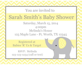 20 Personalized Baby Shower Invitations  - Elephant Design