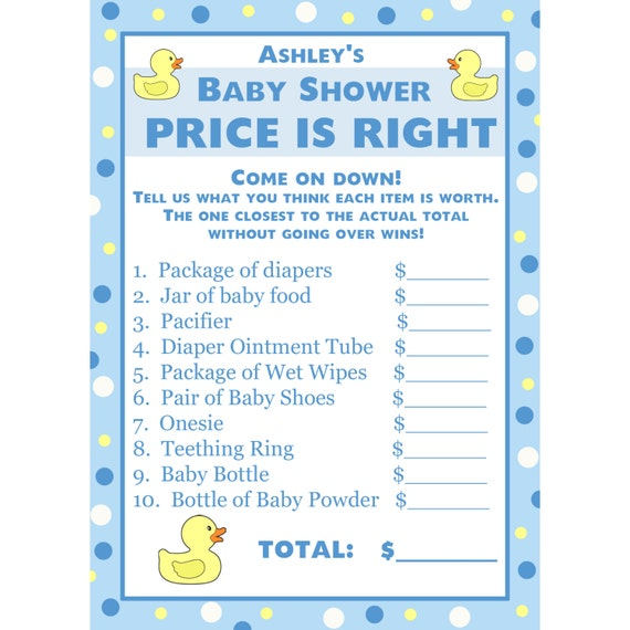 Baby Shower Gift Card Value ~ Personalized baby shower price is right game by partyplace