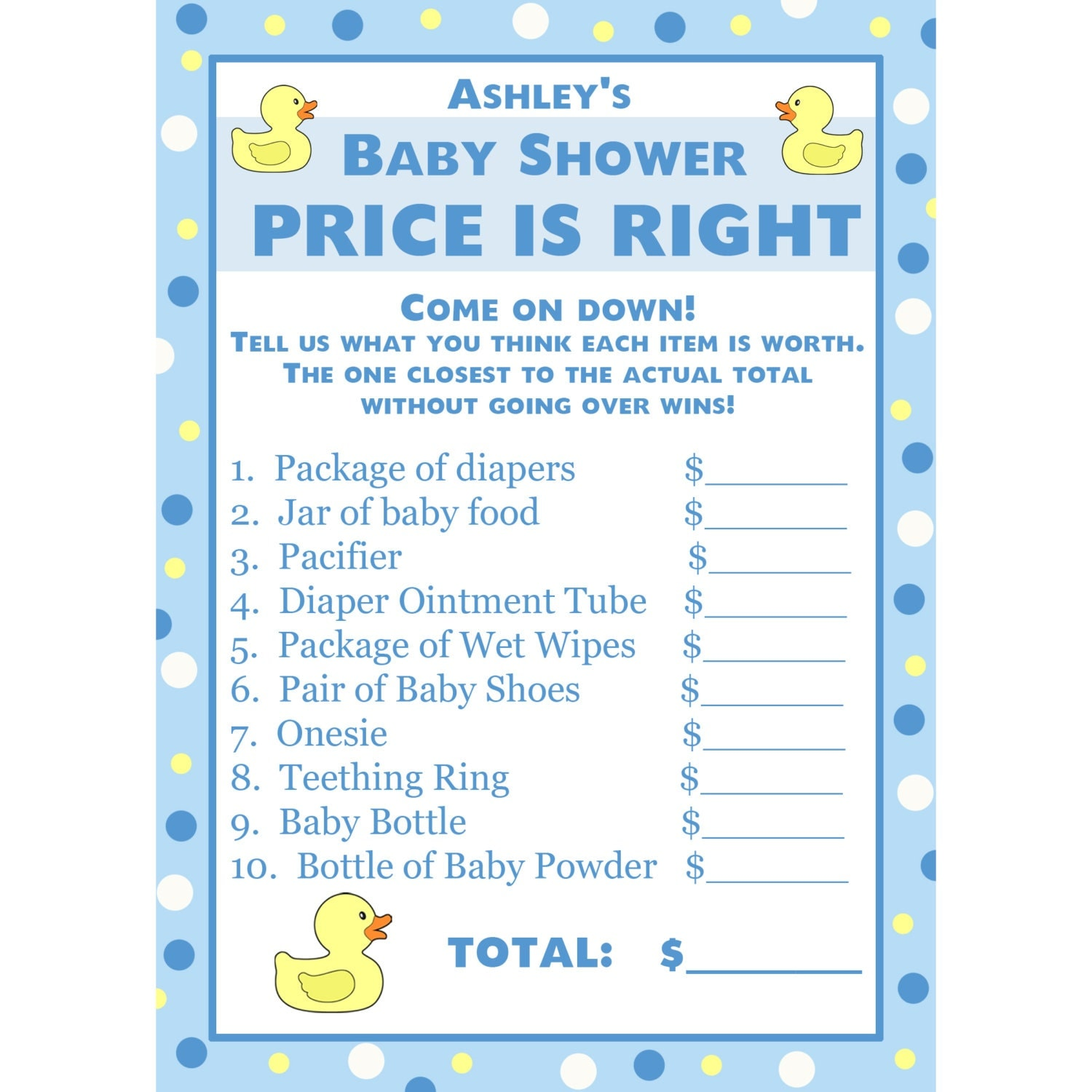 24 personalized baby shower price is right game cards blue for Free printable price is right baby shower game template