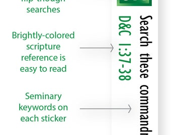 INSTANT DOWNLOAD - LDS Scripture Mastery / Seminary / Scripture Stickers - Emerald Green