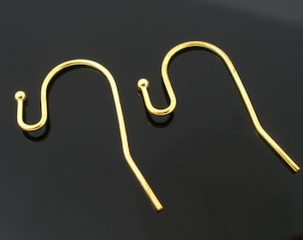 French Ear Wires, Gold Plate, 21mm