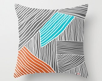 Pillow Cover Decorative - Lines throw pillow - 18x18 - 20x20 - 16x16 - Accent pillow cover - designer pillow cover - Modern pillow cover