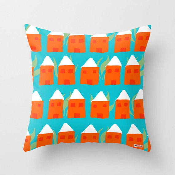 Modern Pillow Cover Design : Houses Decorative throw pillow cover Colorful pillow cover
