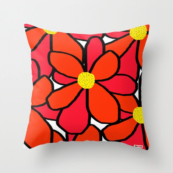 Flowers Decorative throw pillow cover Colorful pillow cover