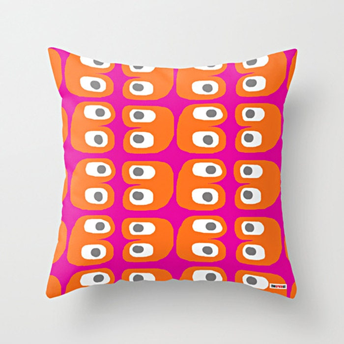 Pink And Orange Decorative Pillows : Pink and Orange Decorative pillow cover Colorful pillow
