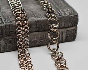 Nickel plated chainmaille bracelet set of 2 helm chain, european 4 in 1