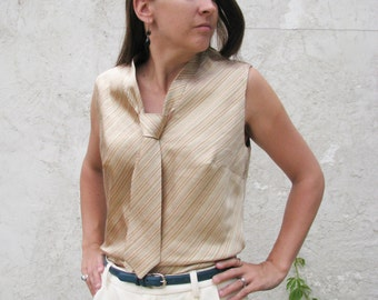 Amazing Neck-Tie Blouse---Custom Made to Fit You