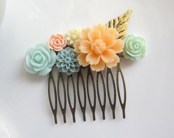 Large Peach Flower, Mint Rose, Grey Pompom Flower. Gold Plated Leaf. Bridal Wedding Floral Flower Colllage Hair Comb Accessory