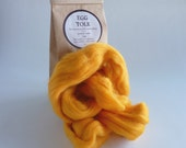 Golden yellow merino roving, 25g (1oz) Egg Yolk, 21 micron, merino roving,  merino tops, felting wool, needle felting, wet felting