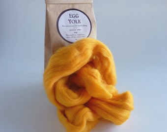 Golden yellow merino roving, 25g (1oz) Egg Yolk, 21 micron, merino roving,  merino tops, felting wool, needle felting, wet felting