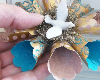 Vintage Victorian Style Teal Gold Bird Dove Star Snowflake Paper Wreath Christmas Ornament German Glass Glitter